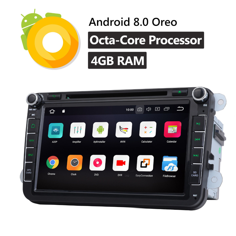 8 inch Car Radio Stereo GPS Navigation Bluetooth Full Touch Car Multimedia Player Audio Player Multi-window View For Android 8.0