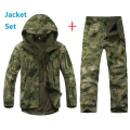 TAD Softshell Tactical Outdoors Hoodie Jacket Set Men Waterproof Sport Camo Hunting Clothing Set Pants+Military Jacket Hoodies