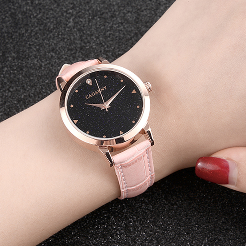 luxury brand cagarny quartz watch for women blue sky dials creative casual ladies watches rose gold case drop shipping (49)