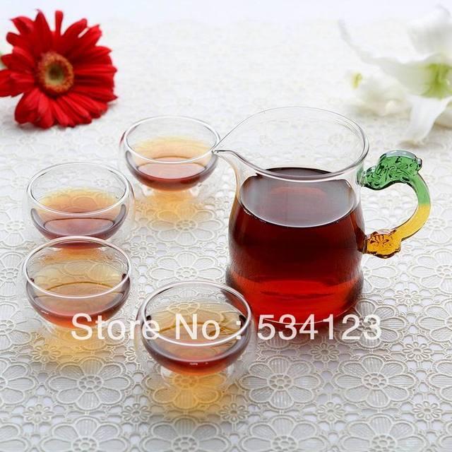 New! glass tea coffee set, transparent glass flower teapot set , 50ml double wall cups heat resistant+400ml teapot, freeship