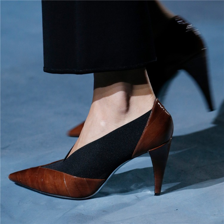 Designer New 2019 Fashion Week T Show Women Pumps Pointed Toe V Shallow Slip On Ladies Shoes High Heels Stilettos Party Zapatos - 2
