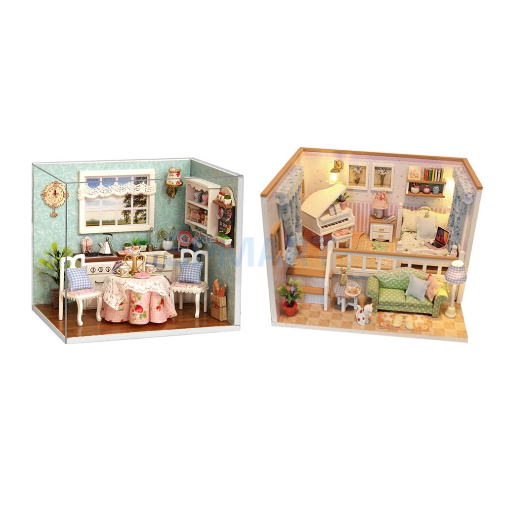 2 Sets DIY Handcraft Miniature Dollhouse Furniture Kits with LED Light & Dust Cover Toy Set - Because of You & Happy Kitchen