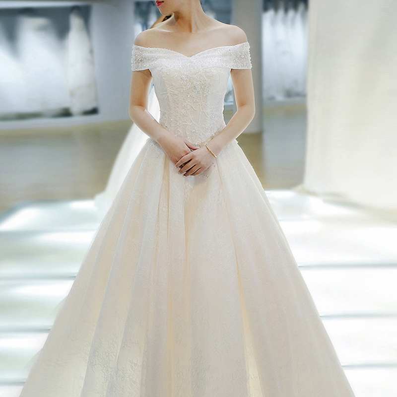 Sexy Luxury Court Train Ball Gown Wedding Dresses 2019 Applique Boat Neck Off The Shoulder Train Bride Gown Vestido De Noiva