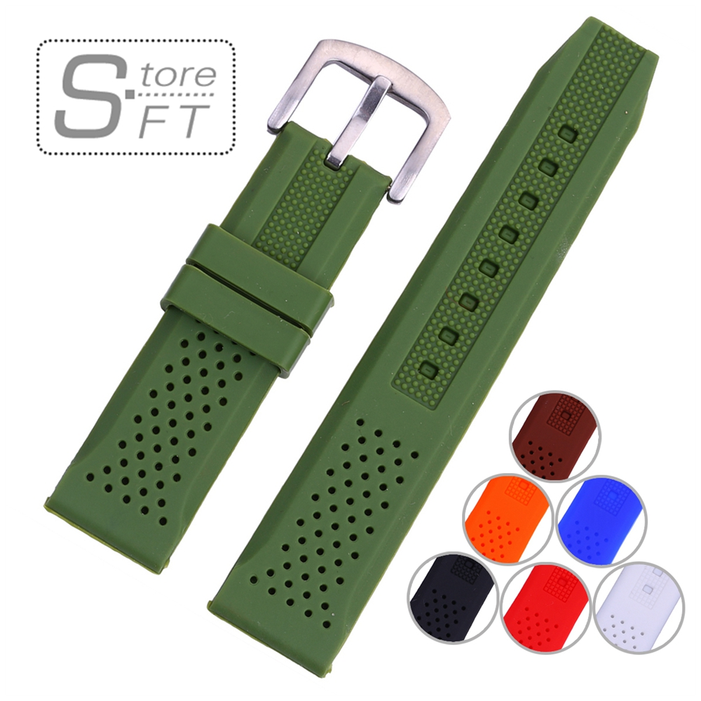 EACHE Silicone Watchband Silicone Watch Straps With Breath holes 18mm 20mm 22mm 24mm More colors eache nato silicone rubber watch band 18mm 20mm 22mm grey orange black blue waterproof silicone straps