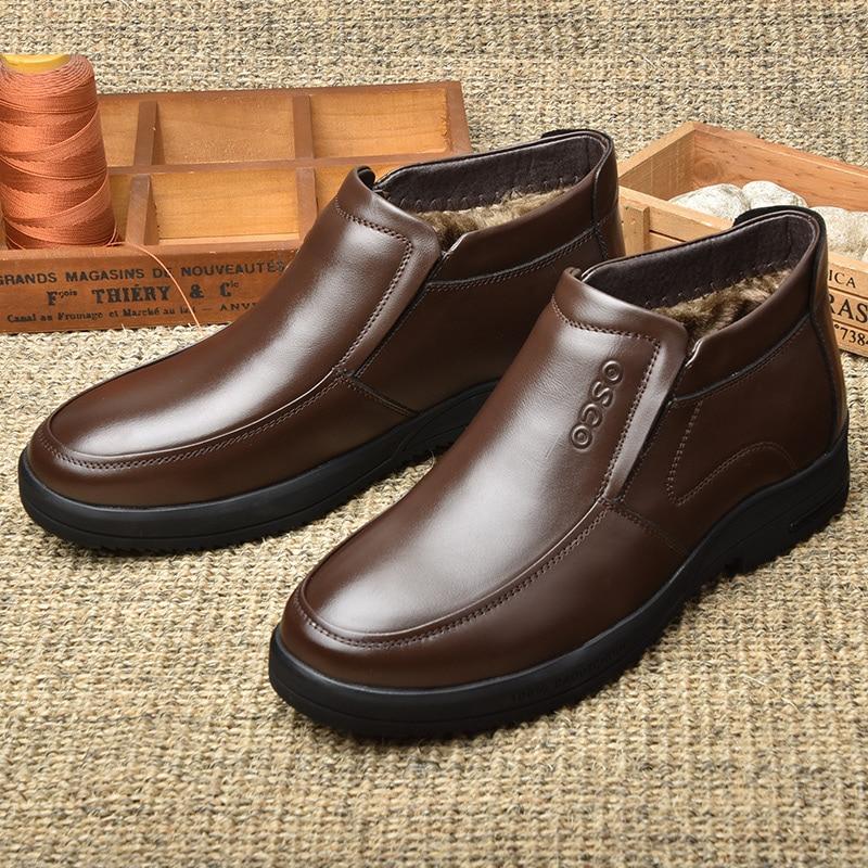 OSCO Winter Boots Men Business Casual Men Shoes Genuine