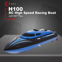 TKKJ H100 RC Boat High Speed Racing 20km/h Remote Control Boat 180' Flip with LCD Screen as Gift for Children Toy RC Racing Boat