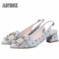 Jady Rose Sexy Pointed Toe Women Pumps Low Heel Slingback Gladiator Sandals Rhinestone Stiletto Dress Shoes Woman Valentine Shoe