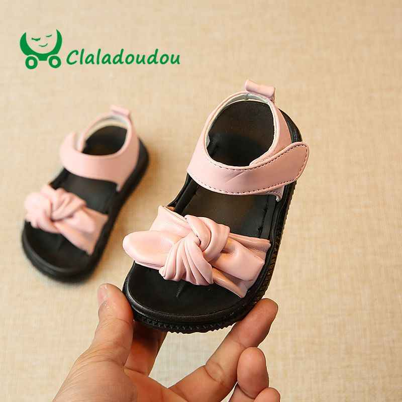 Foot 12.5-15CM Brand Girls Sandals Pu Leather Summer Flats Cow Muscle Soft White Bowtie Shoes Toddler Girls Pink Dress Shoe