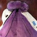 Длинные куртка Fasion фиолетовый искусственного меха зимнее пальто мех енота с капюшоном бесплатная доставка