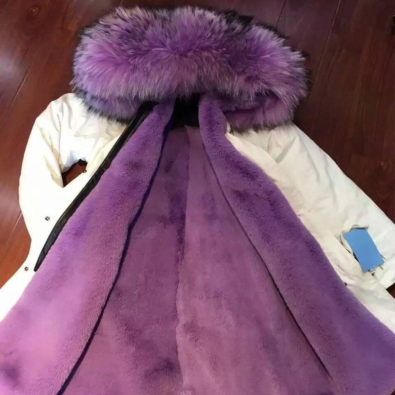 Long Fasion jacket purple faux fur winter coat raccoon fur hooded free shipping