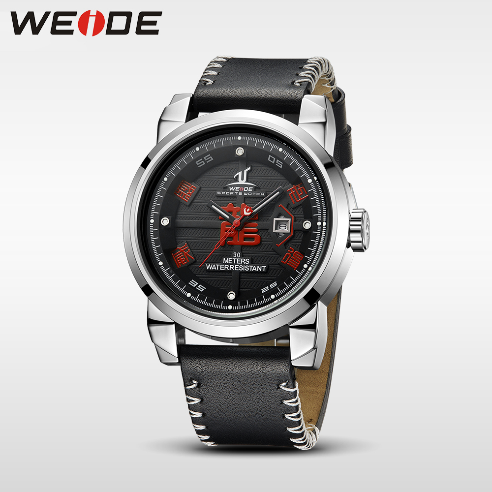 WEIDE Brand Watch Men Waterproof High Quality Leather Strap Unique Dragon Dial Analog Date luxury Sport Quartz automatic Watch in Quartz Watches from Watches