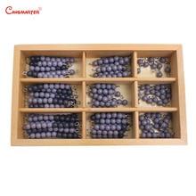 Professional Montessori Math Checker Board Beads Chains Black Gray Teaching Aids Educational Toys Box Preschool Kids MA041-3