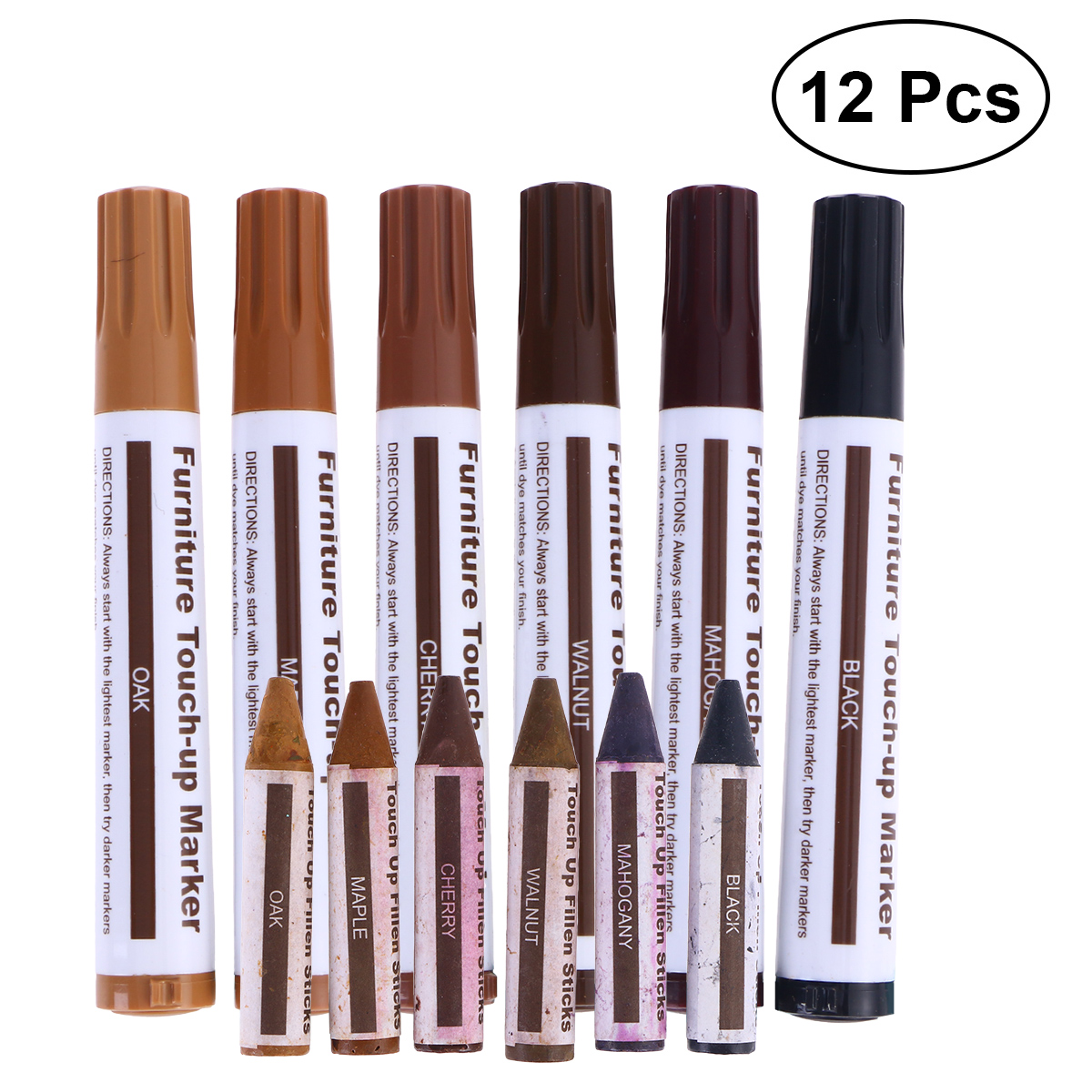 12 Pcs Set Wooden Furniture Touch Up Markers Crayons Stain