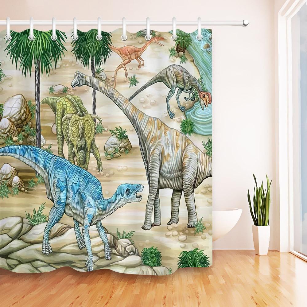 Prehistoric Dinosaur Fabric Shower Curtain Waterproof ...