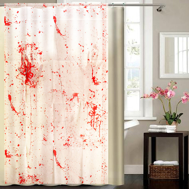 Halloween Wall Sticker Blood Splatter Shower Curtain Spatter Psycho Horror Bathroom Fabric Room Decoration Stickers