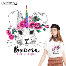 Nicediy Rabbit Flower Patch Iron On Transfers For Clothes Stripe Applique Stickers Fashion Patches Washable Badge DIY