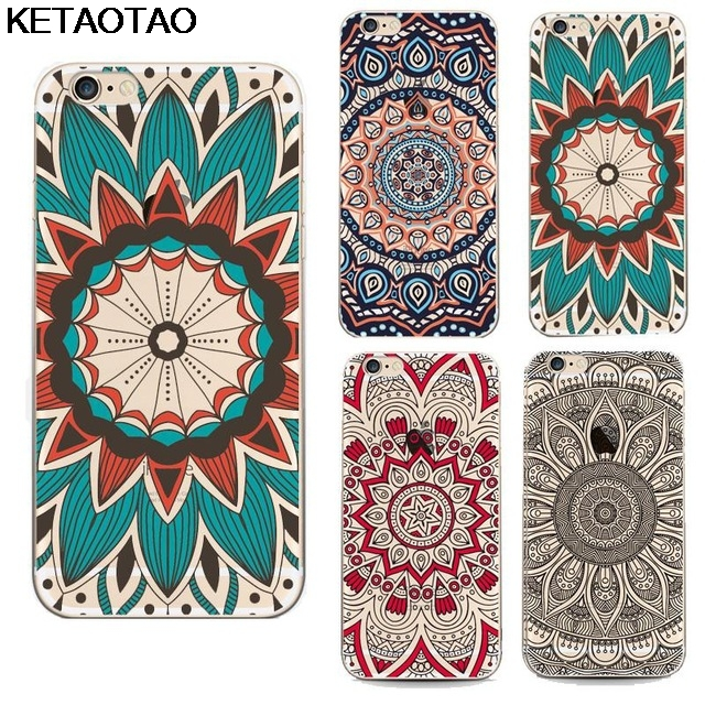 KETAOTAO Ethnic Indian style colorful Phone Cases for iPhone 4S 5C 5S 6S 7 8 SE 5 Plus X Case Crystal Clear Soft TPU Cover Cases