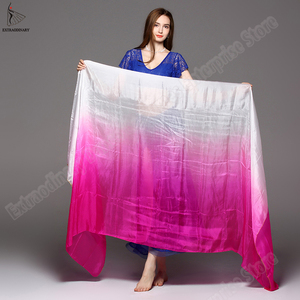 Image 3 - scarf belly dance veil velo danza del vientre shawl for belly dancing silk vei scarf bellydance Gradient Rainbow Adults veil