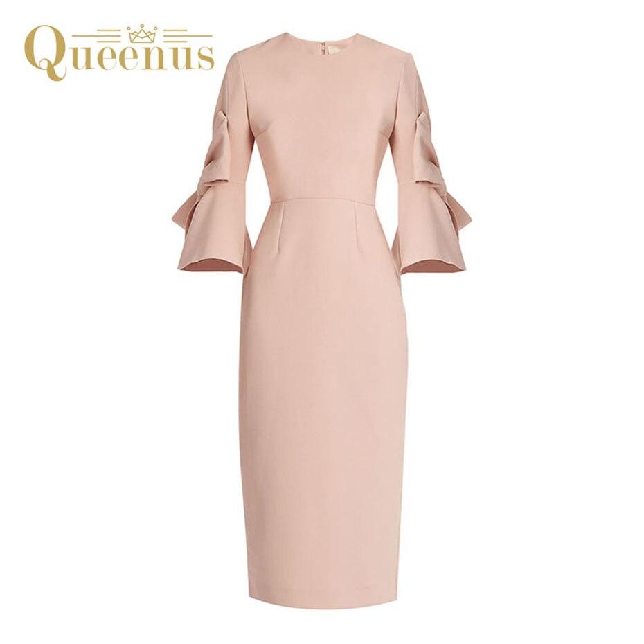 Queenus Women Vintage Dress Round Neck Three Quarter Flare Sleeve Bow Knot Knee Length Slim Light
