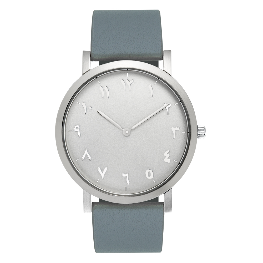 Silver Case Grey Bands, Stainless Steel Arabic Watches Interchangeable Leather Strap цена