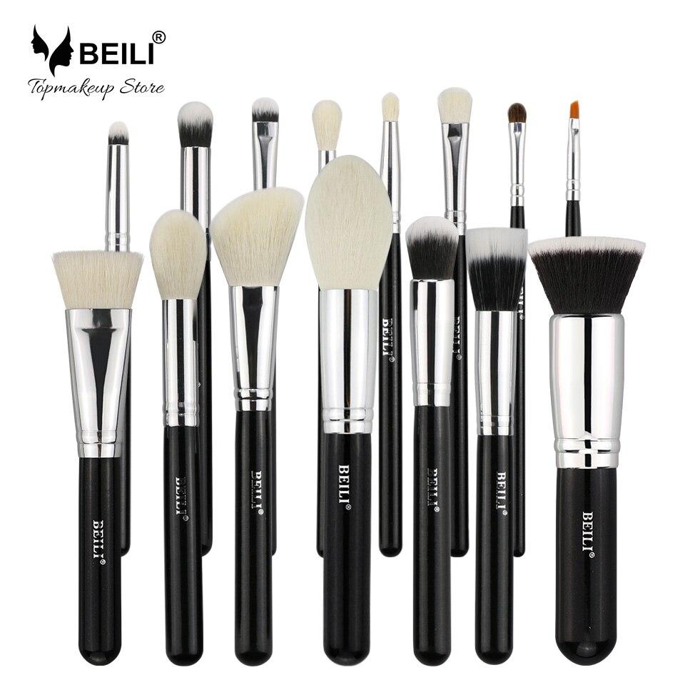 BEILI De Chèvre cheveux Grand Poudre Fondation fard à joues ombre à paupières Contour 15 pcs Noir Maquillage brush set Cosmétique Brosse