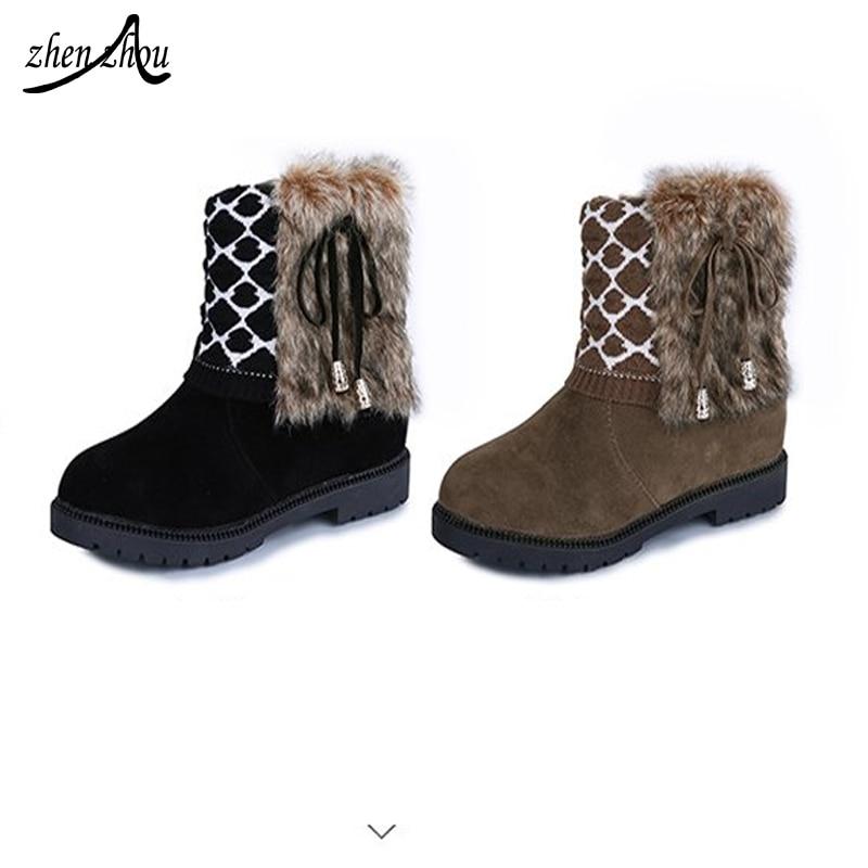 be6c00af6 De Black khaki Lã Curtas Outono Tricô Martin Botas Inverno Camurça Mulheres  Quentes Das Plana Arco Sapatos 6qafd6