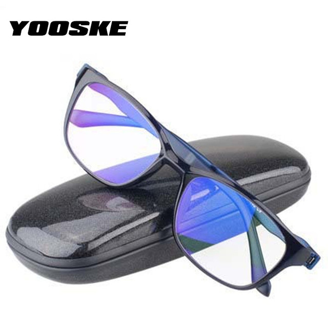 YOOSKE Anti Blue Rays Reading Glasses Women Men Ultra-light Eyeglasses for Reading Anti-fatigue Hyperopia Glasses