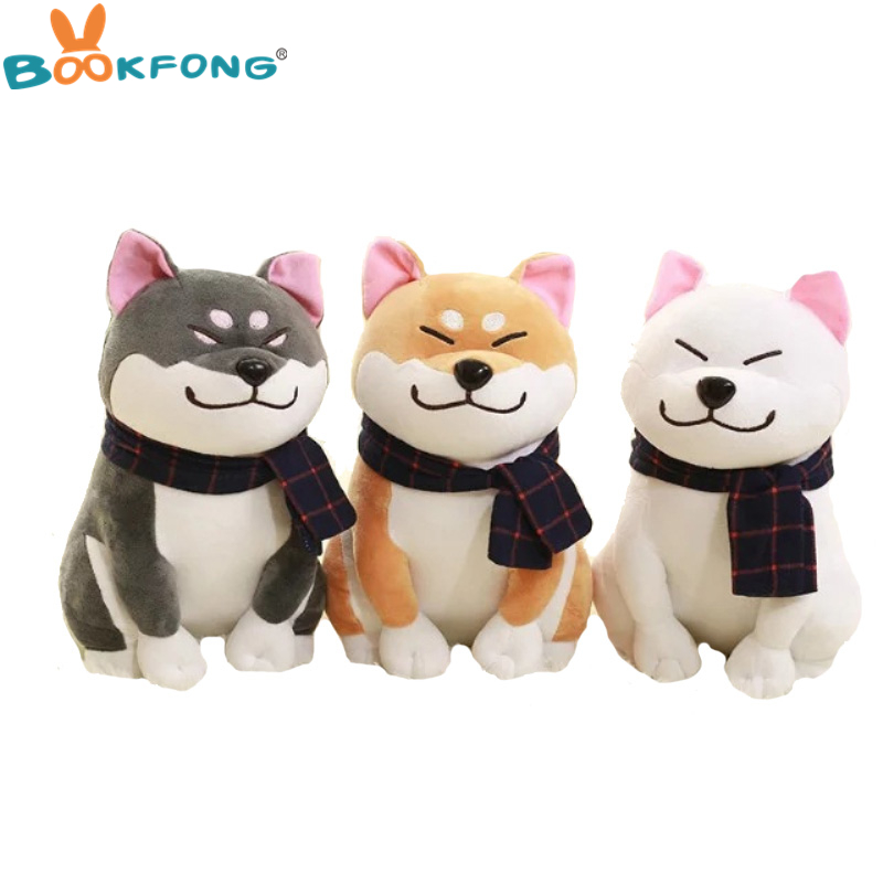 BOOKFONG 1PC Wear scarf Shiba Inu dog plush toy soft stuffed dog toy good valentines gifts for girlfriend 25cm/9.84''