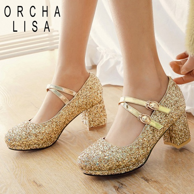 666c8de468d ORCHA LISA Pointed toe 2019 wedding shoes Women pumps Glitter Rhinestone  ankle strap block heels party dress shoes Gold silver