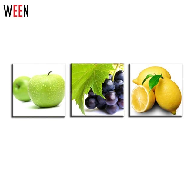 Fruta lienzo cuadros limón las manzanas y las uvas pintura cuadros ...