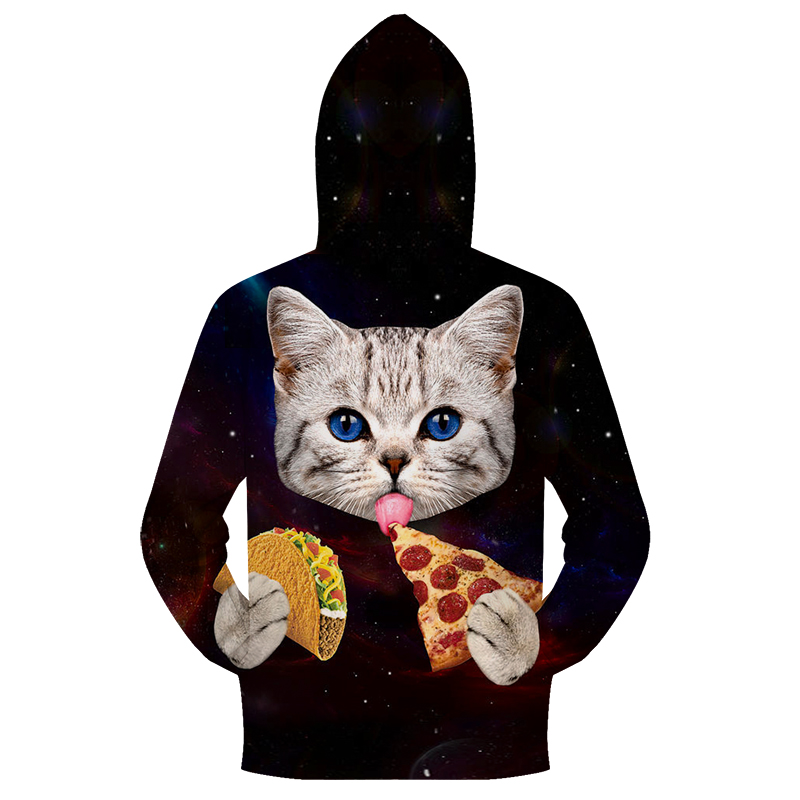 Hot Sale Cat Pizza Zipper Hoodie Men Women Zipper Cardigan Sweatshirt Brand Male Hoodie Jacket Coat Funny Streetwear ZOOTOP BEAR