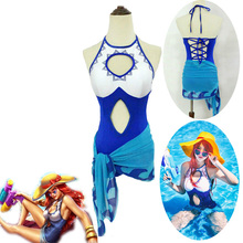 Gran oferta juego LOL natación Fiesta EN LA Piscina Miss Fortune bañador Cosplay Halloween carnaval traje de baño de una sola pieza + pañuelo de cintura S-XL