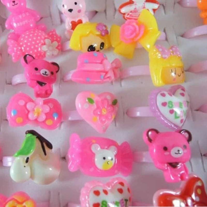 การ์ตูนน่ารักเด็ก/เด็กเรซิ่นแหวนสี Candy ดอกไม้สัตว์การ์ตูนแหวนสำหรับของขวัญเด็ก Finger เครื่องประดับแหวนสุ่ม