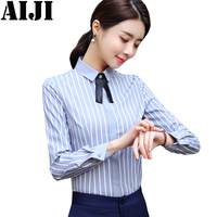 Office Bow Tie Blouses Women Long Sleeve White Blue Gray Shirts Female Elegant Top 2018 Winter