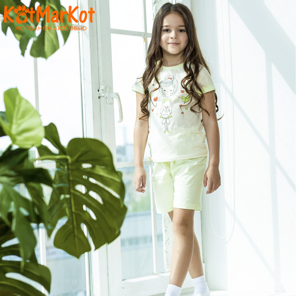 Pajama Sets Kotmarkot 16457 children's pajamas for boys and girls sleep t-shirt and shorts pajama pants Cotton Girls shein kiddie toddler girls letter print jumpsuit and floral print pants and headband long sleeve casual suit for girl sets