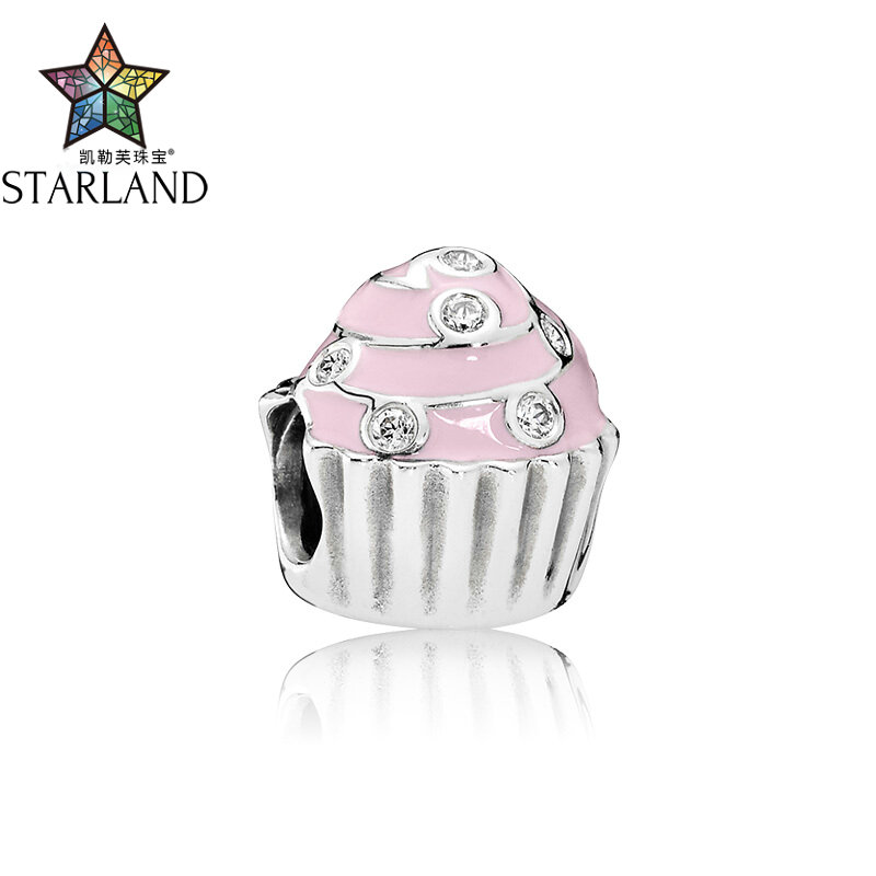 Starland 100% 925 Sterling Silver Bead Accessories Pink Enamel Cake Original Brand Bracelet DIY Jewelry For Women GiftStarland 100% 925 Sterling Silver Bead Accessories Pink Enamel Cake Original Brand Bracelet DIY Jewelry For Women Gift