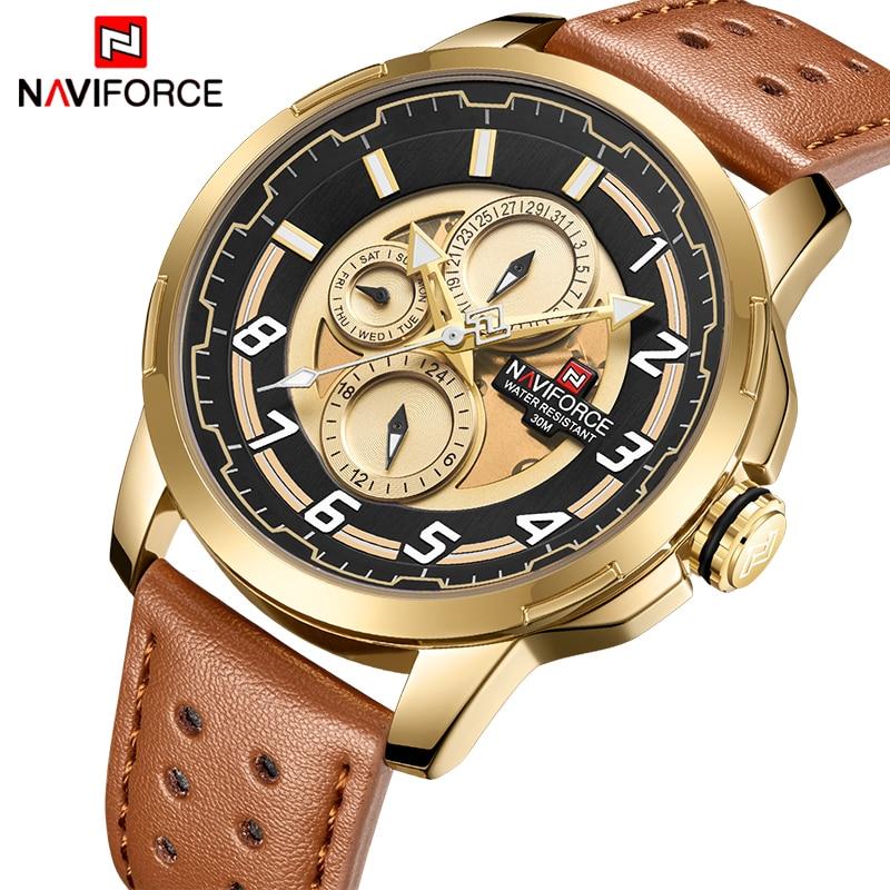 Mens Watches Top Luxury Brand Fashion Sports Watch NAVIFORC Men Military Leather Quartz Gold Waterproof Clock Relogio Masculino