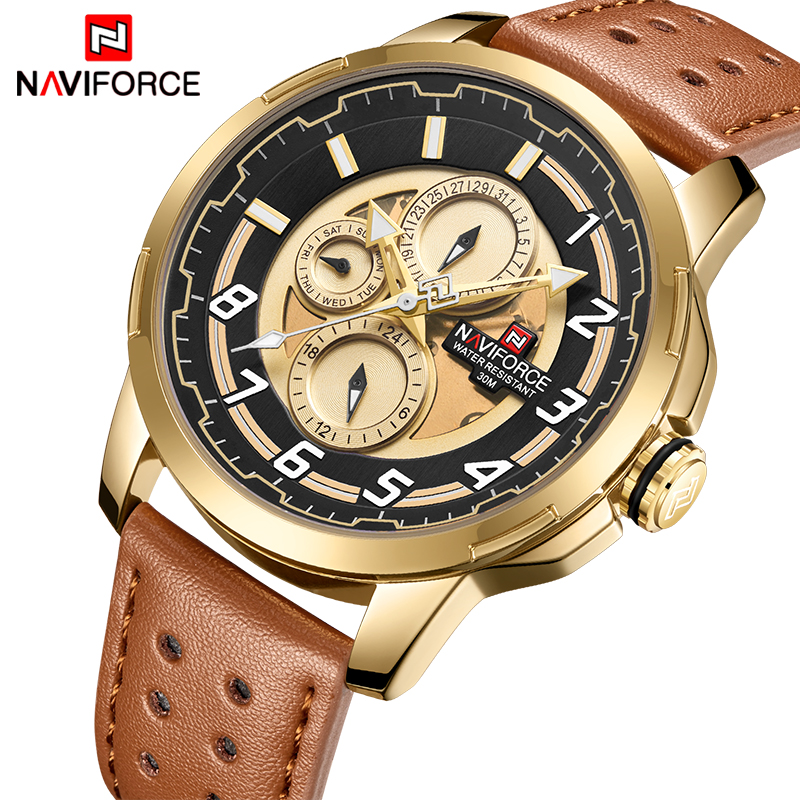 Mens Watches Top Luxury Brand Fashion Sports Watch NAVIFORC Men Military Leather Quartz Gold Waterproof Clock Relogio Masculino