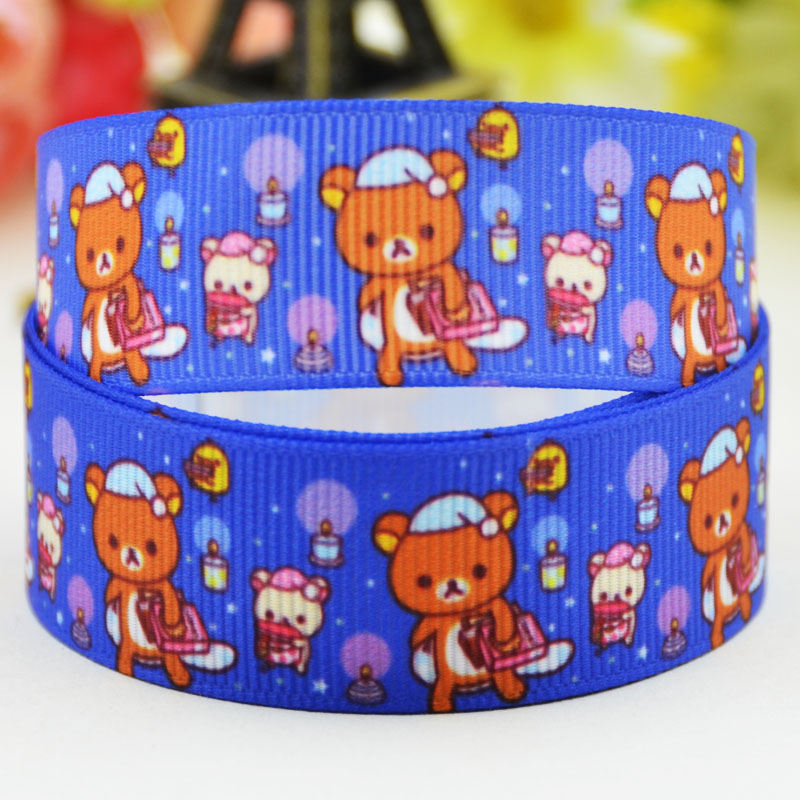 78'' (22mm) Rilakkuma  Character printed Grosgrain Ribbon party decoration satin ribbons X-02088 OEM 10 Yards