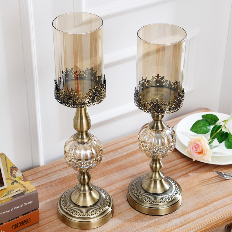 Luxury American Style Crystal Metal Candlestick Home Decor Candle Holders Porta Velas Decorativas Candelabra Centerpieces