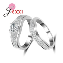 JEXXI 925 Sterling Silver True Love Promise Ring Sets AAA Zircon White Topaz Paved Women Finger Accessories Jewelry Rings