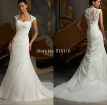 2015 Mermaid Bridal Gown Wedding Dresses With Ivory Cap Sleeve Sheer Back Pleats Court Train Custom Made Drop Shipping