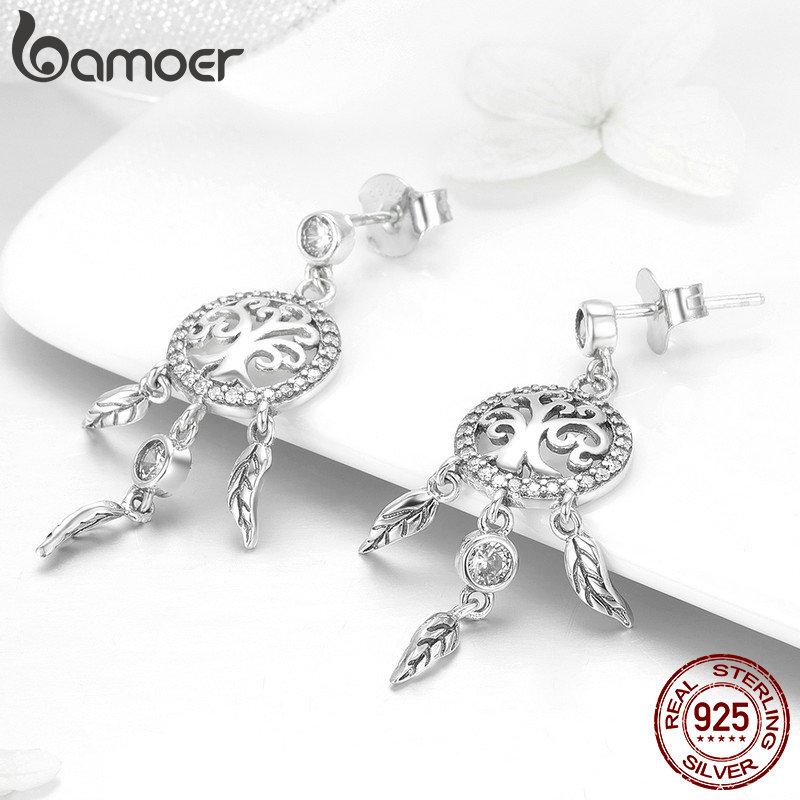Image 3 - BAMOER Fashion 925 Sterling Silver Tree of Life Dream Catcher Drop Earrings for Women Vintage Sterling Silver Jewelry SCE457Earrings   -