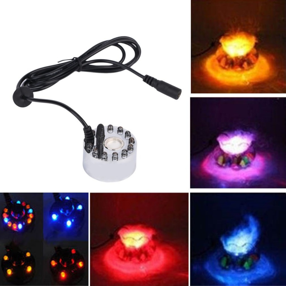 12 LED Colorful Light Ultrasonic Mist Maker Fogger Purify Water Fountain Pond Indoor Outdoor 1A/24V ABS Easy To Operate 12 led ultrasonic mist maker fogger water fountain pond