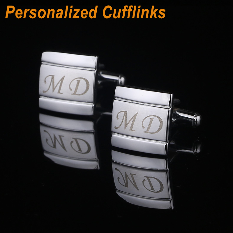 QiQiWu Customized Name Cufflinks Personalized Engraving Metel Cuff Links Wedding Cufflink For Mens Jewelry With Gift Box CL-003