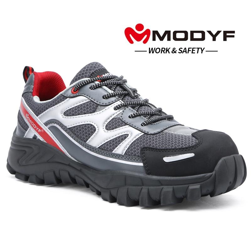 MODYF Men Steel Toe Cap Work Safety Shoe Genuine Leather Casual Anti-kick Footwear Outdoor Puncture Proof Sneaker цена 2017