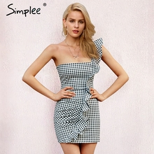 Simplee Один плечевой ремень с оборками летнее платье Для женщин эластичные короткие клетчатые Повседневные платья 2018 уличная облегающее платье vestidos