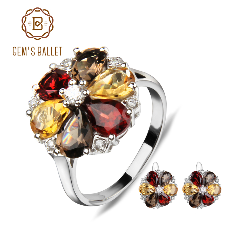 GEM S BALLET Natural Garnet Smoky Quartz Citrine Jewelry Set 925 Sterling Silver Earrings Ring Set