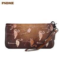 PNDME high quality genuine leather clutch bag vintage ladies wallet luxury zipper long section female purse for women phone bags