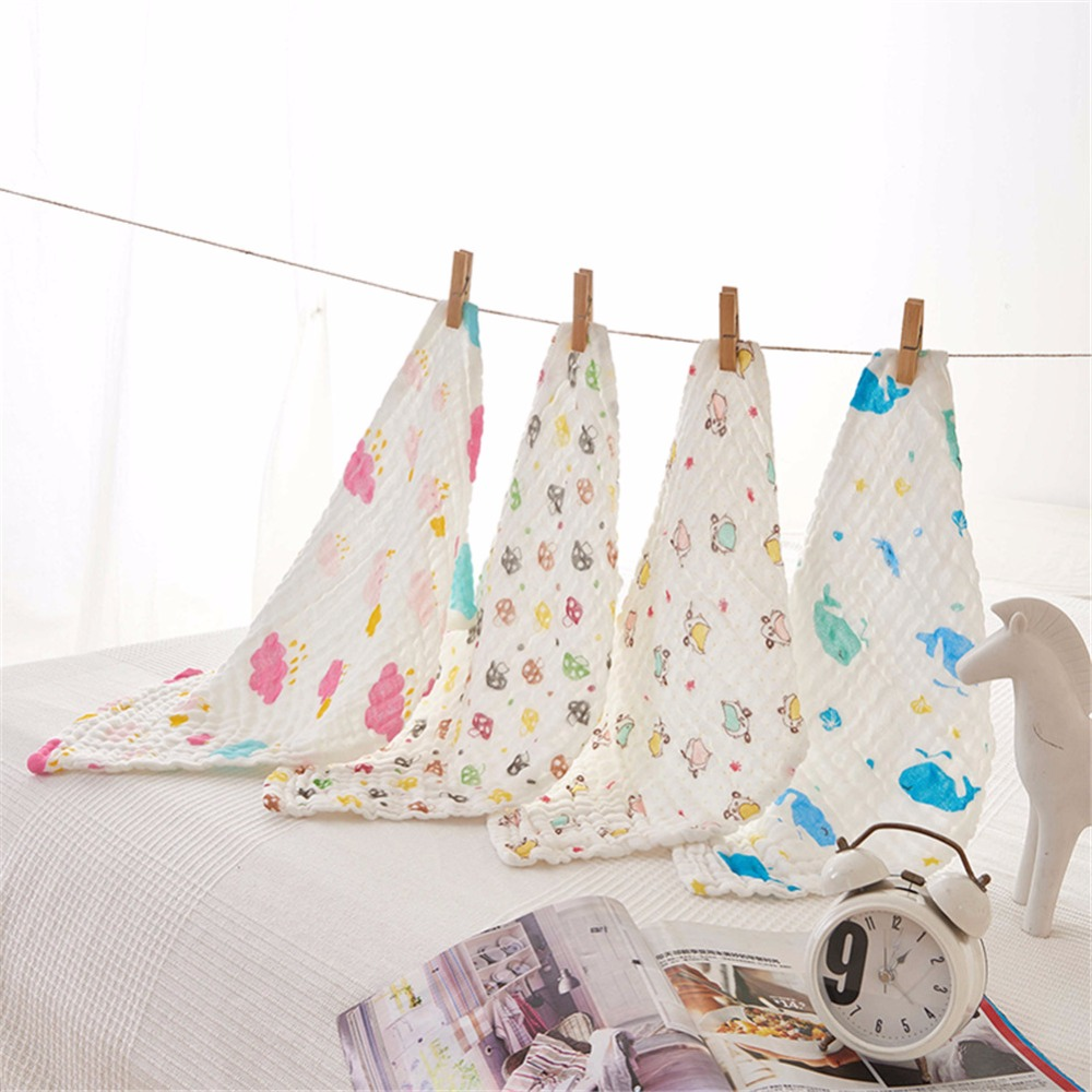 iDouillet 100% Muslin Cotton Washclothes Baby Face Towels and Handkerchiefs 4 Pack 20x50cm Cute Cartoon Print Baby Reusable Wipe